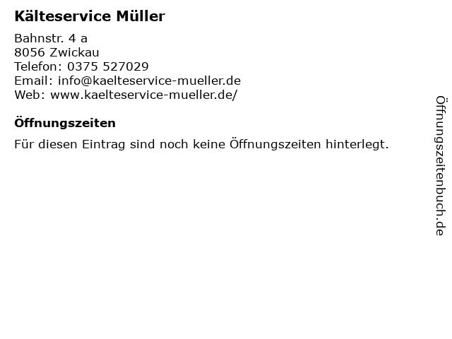 Hans-Jörg Müller Kälteservice in Zwickau: Adresse und Öffnungszeiten