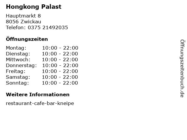 Hongkong Palast in Zwickau: Adresse und Öffnungszeiten
