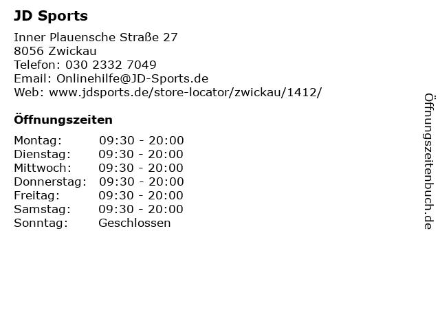 JD Sports in Zwickau: Adresse und Öffnungszeiten