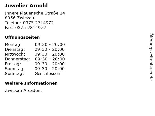 Juwelier Arnold in Zwickau: Adresse und Öffnungszeiten