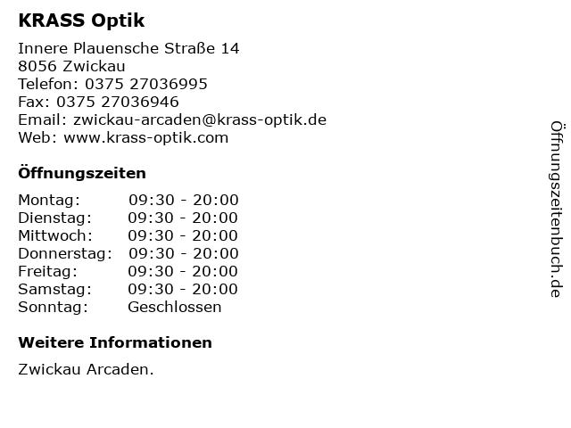 KRASS Optik in Zwickau: Adresse und Öffnungszeiten