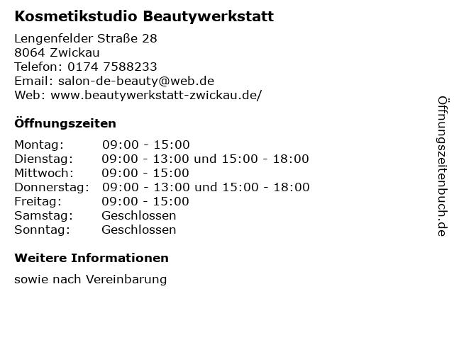 Kosmetikstudio Beautywerkstatt in Zwickau: Adresse und Öffnungszeiten