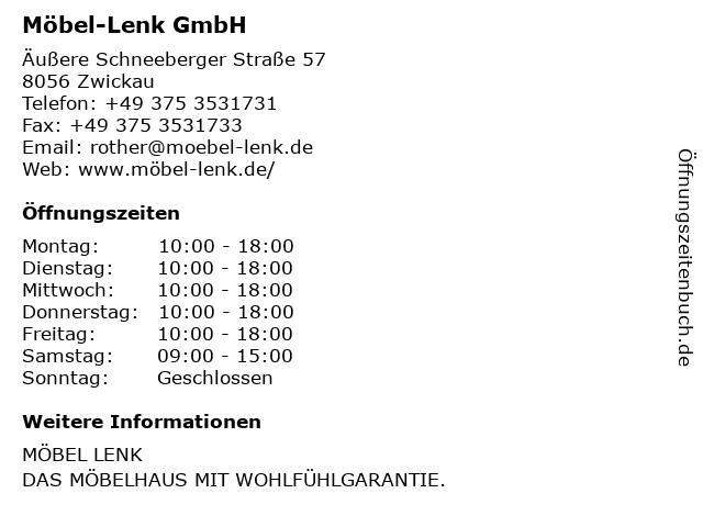 Möbel-Lenk GmbH in Zwickau: Adresse und Öffnungszeiten