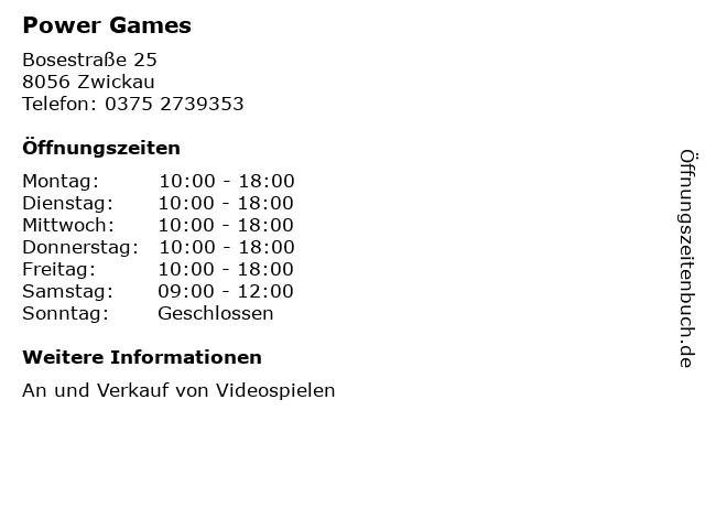 Power Games in Zwickau: Adresse und Öffnungszeiten