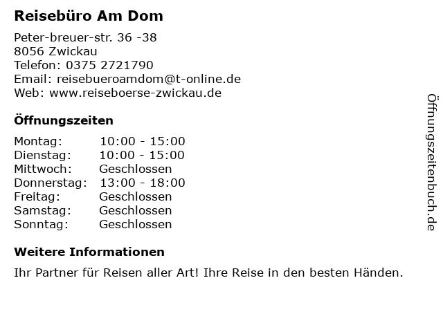 Reisebüro Am Dom in Zwickau: Adresse und Öffnungszeiten