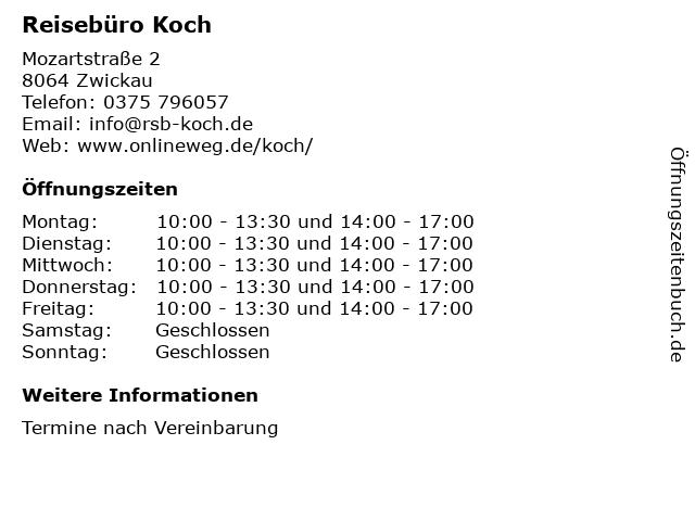 Reisebüro Koch in Zwickau: Adresse und Öffnungszeiten