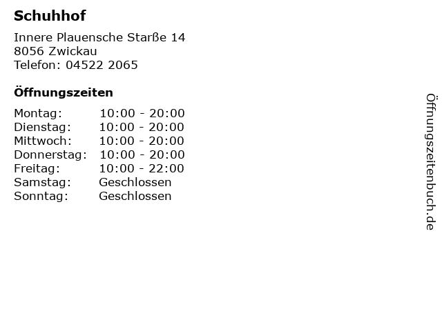 Schuhhof in Zwickau: Adresse und Öffnungszeiten