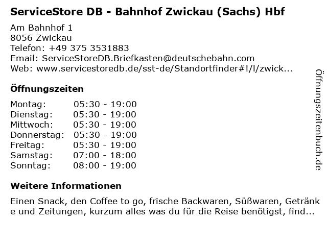 ServiceStore DB - Bahnhof Zwickau in Zwickau: Adresse und Öffnungszeiten