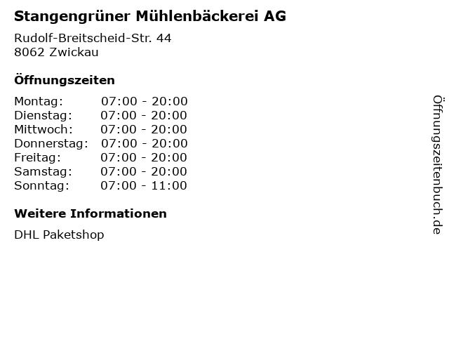 Stangengrüner Mühlenbäckerei AG in Zwickau: Adresse und Öffnungszeiten