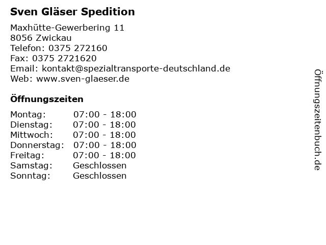 Sven Gläser Spedition in Zwickau: Adresse und Öffnungszeiten
