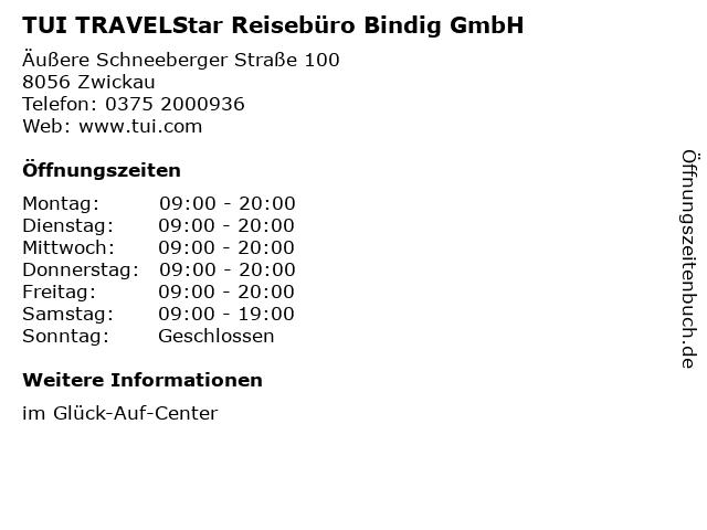 TUI TRAVELStar Reisebüro Bindig GmbH in Zwickau: Adresse und Öffnungszeiten