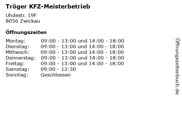 Tröger KFZ-Meisterbetrieb in Zwickau: Adresse und Öffnungszeiten