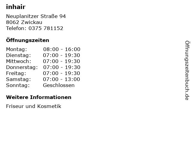 inhair in Zwickau: Adresse und Öffnungszeiten
