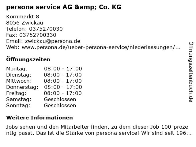 persona service AG & Co. KG in Zwickau: Adresse und Öffnungszeiten
