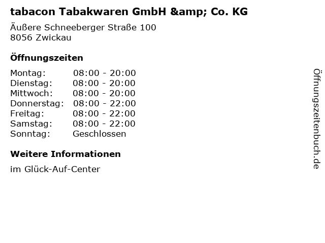 tabacon Tabakwaren GmbH & Co. KG in Zwickau: Adresse und Öffnungszeiten