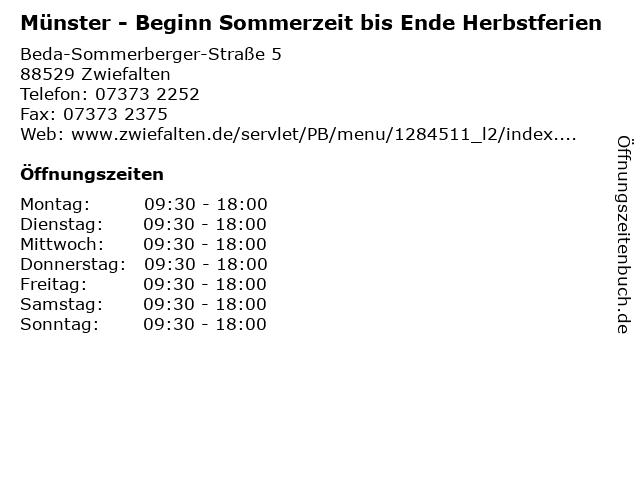 Münster - Beginn Sommerzeit bis Ende Herbstferien in Zwiefalten: Adresse und Öffnungszeiten