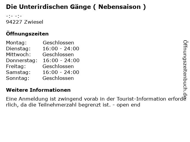 Die Unterirdischen Gänge ( Nebensaison ) in Zwiesel: Adresse und Öffnungszeiten