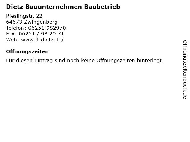 Dietz Bauunternehmen Baubetrieb in Zwingenberg: Adresse und Öffnungszeiten
