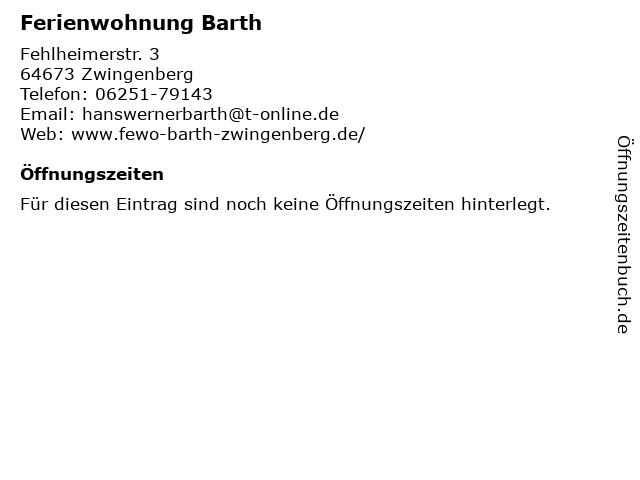 Ferienwohnung Barth in Zwingenberg: Adresse und Öffnungszeiten