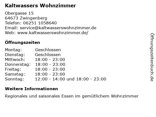 Kaltwasser's Wohnzimmer - Restaurant in Zwingenberg: Adresse und Öffnungszeiten