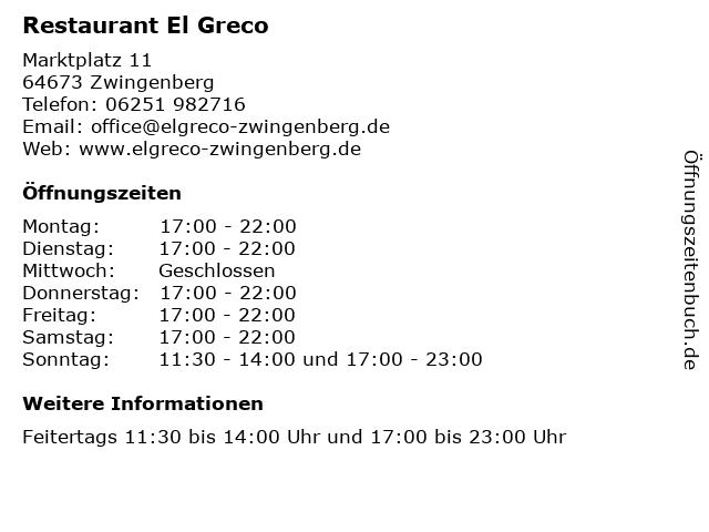 Restaurant El Greco in Zwingenberg: Adresse und Öffnungszeiten
