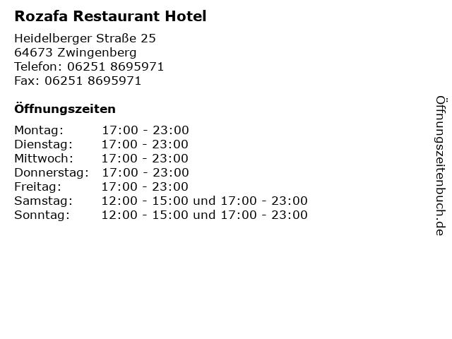 Rozafa Restaurant Hotel in Zwingenberg: Adresse und Öffnungszeiten