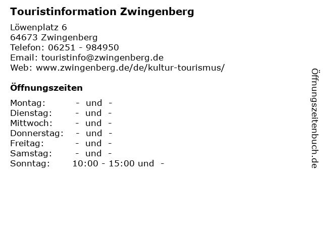 Touristinformation Zwingenberg in Zwingenberg: Adresse und Öffnungszeiten