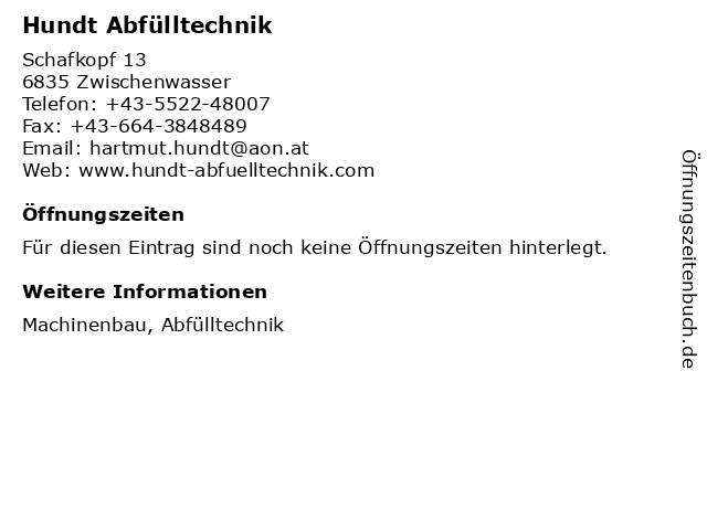 ᐅ Offnungszeiten Hundt Abfulltechnik Schafkopf 13 In Zwischenwasser